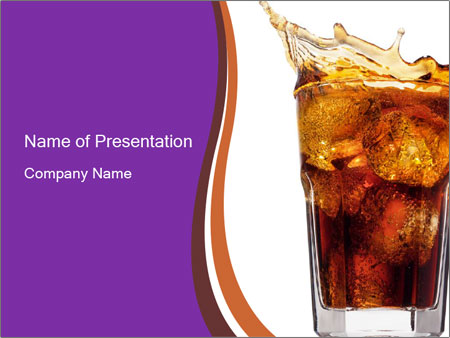 coca cola with ice cubes powerpoint template & backgrounds id, Modern powerpoint