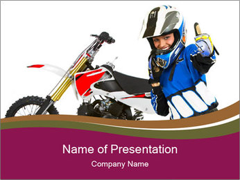 Woman in Motoracer Uniform PowerPoint Template