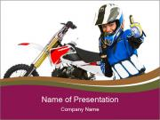 Woman in Motoracer Uniform PowerPoint Templates