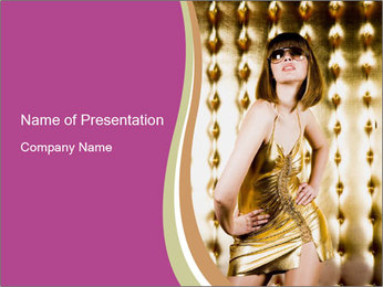 Young Lady in Dolden Disco Mini Dress PowerPoint Template