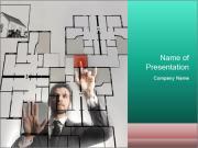 Archtect Touching 3D Digital House Blueprint Шаблоны презентаций PowerPoint