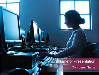 College Student in Computer Class PowerPoint Template