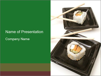 Sushi Roll on Black Plate PowerPoint Template