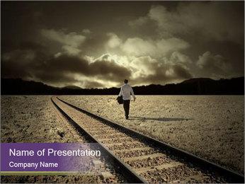 Depressive Man Walking along Rails PowerPoint Template