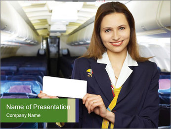 Friendly Air Hostess in Airliner Cabin PowerPoint Template