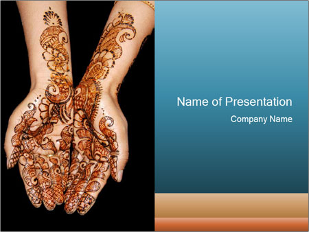 Mehndi Hands Powerpoint : Decorate hands with henna powerpoint template backgrounds id