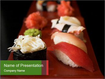 Plate with Sushi PowerPoint Template