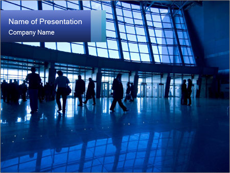 crowd at airport powerpoint template & backgrounds id 0000016387, Modern powerpoint