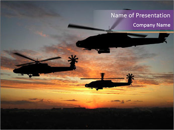 Military Helicopters over Sunset PowerPoint Template