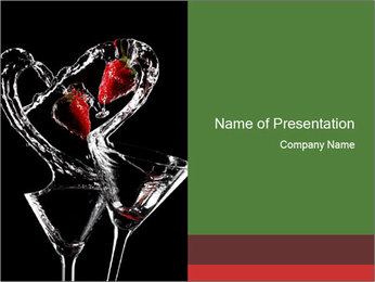 Two Cocktail Glasses Decorated with Strawberries PowerPoint Template