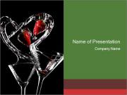 Two Cocktail Glasses Decorated with Strawberries PowerPoint Templates
