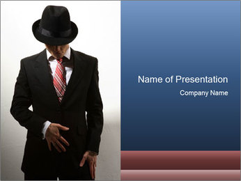 Spy in Black Suit and Hat PowerPoint Template