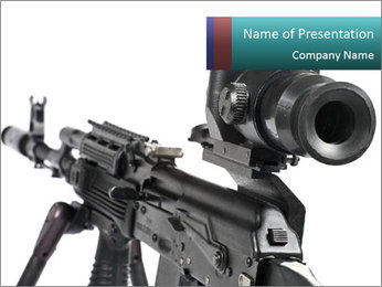Shooting with Kalashnikov Gun PowerPoint Template