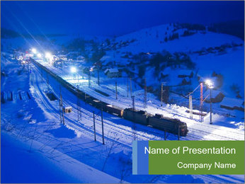 Travelling by Train in Winter Mountains PowerPoint Template