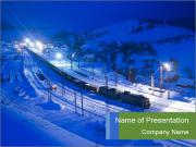 Travelling by Train in Winter Mountains PowerPoint Templates