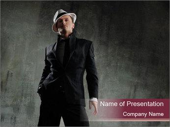 Man Wearing Retro Hat PowerPoint Template