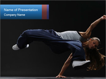 Teenager Girl Dancing Hiphop Style PowerPoint Template