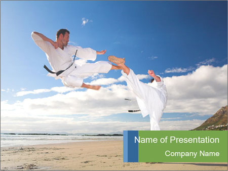 karate fight on the beach powerpoint template & backgrounds id, Presentation templates