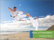 Karate Fight on the Beach PowerPoint Templates