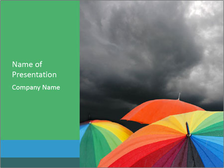 Grey Rainy Sky and Rainbow Umbrellas PowerPoint Template ...
