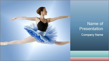 ballerina in blue tutu powerpoint template backgrounds google