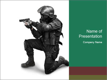 Bodyguard with Pistol PowerPoint Template