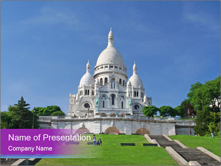 White Sacre Coeur Curch In Paris Powerpoint Template Backgrounds