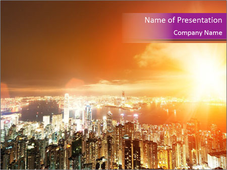 Night Lights Of Hong Kong City Powerpoint Template Backgrounds