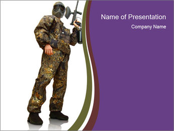 Military Costume for Paintball PowerPoint Template