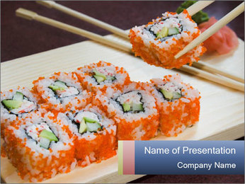 Order California Roll in the Restaurant PowerPoint Template