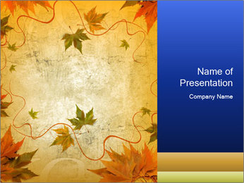 Sepia Autumn Leaves Pattern PowerPoint Template