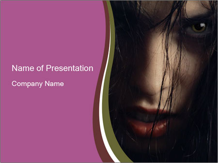 scary black-haired woman witch powerpoint template & backgrounds, Modern powerpoint