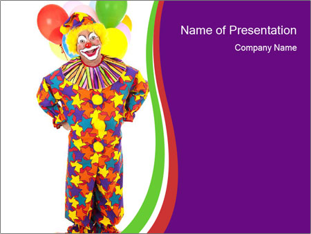 Birthday Clown With Colorful Balloons Powerpoint Template