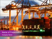 Harbor with Containers at Night PowerPoint Templates