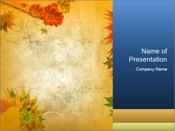 Frame with Autumn Flowers PowerPoint Template