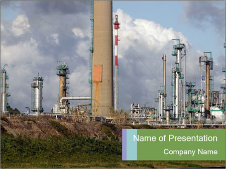 chimneys at industrial zone powerpoint template & backgrounds id, Modern powerpoint