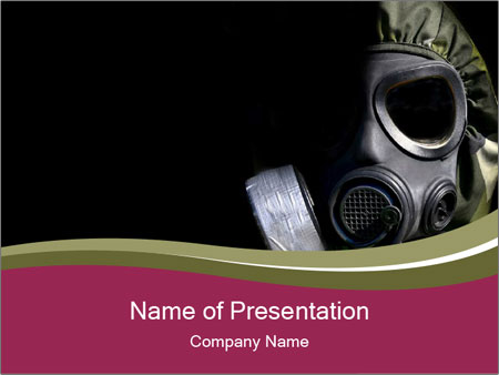 Military Protective Gasmask PowerPoint Template, Backgrounds ...
