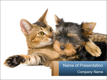 Kitten and Puppy Best Friends PowerPoint Template