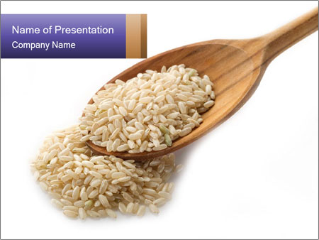 Brown rice in wooden spoon powerpoint template backgrounds google brown rice in wooden spoon powerpoint template toneelgroepblik Image collections