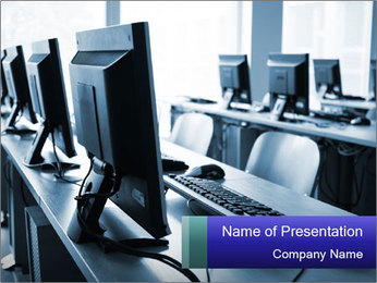 Computer Lab in Training Center PowerPoint Template