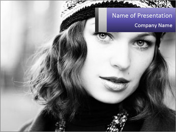 Elegant Lady in Beret PowerPoint Template