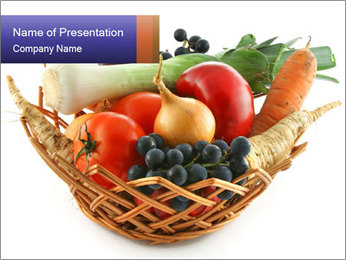 Basket with Fresh Organic Vegetables PowerPoint Template