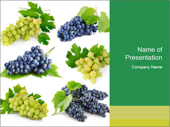 Organic Grapes with Green Leaves PowerPoint Template