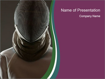 Master of Fencing in Protective Mask PowerPoint Template