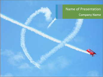Plane Performing Air Heart Show PowerPoint Template