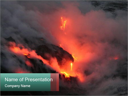 flowing lava of kilauea volcano powerpoint template & backgrounds, Modern powerpoint