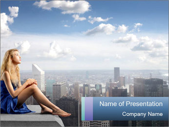 Woman Sitting on the Skyscraper Rooftop PowerPoint Template