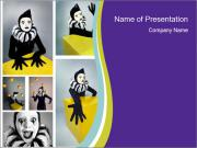 Circus Mime Wih Gelbes Quadrat PowerPoint Vorlagen