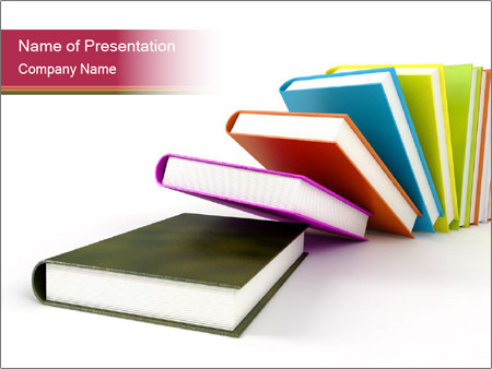 colorful books on white background powerpoint template, Powerpoint templates