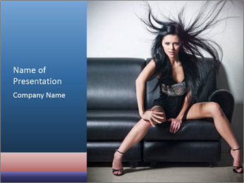 Glamour Lady Sitting on Black Leather Sofa PowerPoint Template